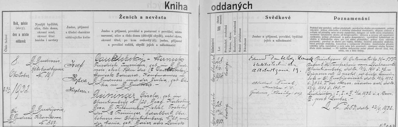 Německy psaný záznam českobudějovické oddací matriky o svatbě Friedricha Daublebského-Sternecka, narozeného dne 6. března roku 1904 v Českých Budějovicích, syna Eduarda Daublebského-Sternecka, obchodníka v Českých Budějovicích, a Julie, roz. Čáhové z Českých Budějovic, s Giselou Reiningerovou, narozenou 23. listopadu roku 1903 v šumavském Křišťanově (Christianberg) jako dcera tamního řídícího učitele Adalberta Reiningera a jeho choti Marie, roz. Baierové z Perneku - oddával je 8. října roku 1932 u sv. Mikuláše kaplan Josef Plojhar