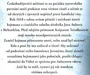 Obálka (2017) jeho historického románu o hejtmanovi Janu Aulnerovi zBirkenfelsu, vydaného brněnským nakladatelstvím MOBA (MoravskáBastei)