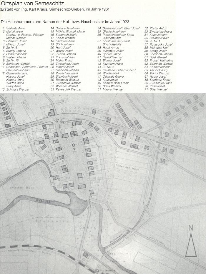Semošice na plánku, který provází seznam majitelů domů v roce 1923