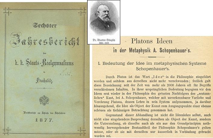 Obálka (1877) výroční zprávy německého státního reálného gymnázia v Prachaticích a úvod jeho studie v ní zveřejněné (viz i Gustav Adolf Lindner)