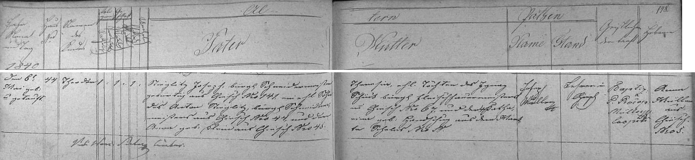 Podle křestní matriky farní obce Chyše se tu v domě čp. 44 narodil v rodině krejčovského mistra Josefa Stieglitze (ijeho otec Anton Stieglitz byl zdejším mistrem krejčovským a z Chyší pocházela i jeho choť Anna, roz. Kleinová) ajeho ženy Theresie, dcery Ignaze Schücka, mistra řeznického z Chyší, a Kathariny, roz. Handschugové ze Želíz (Scheles)