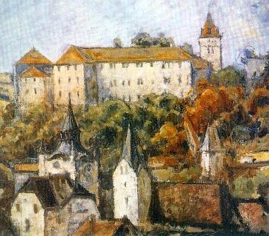 Výřez z obrazu Wilhelma Czecha nazvaného Winterberg (Vimperk), který Horst Stiepani poslal redakci krajanského měsíčníku