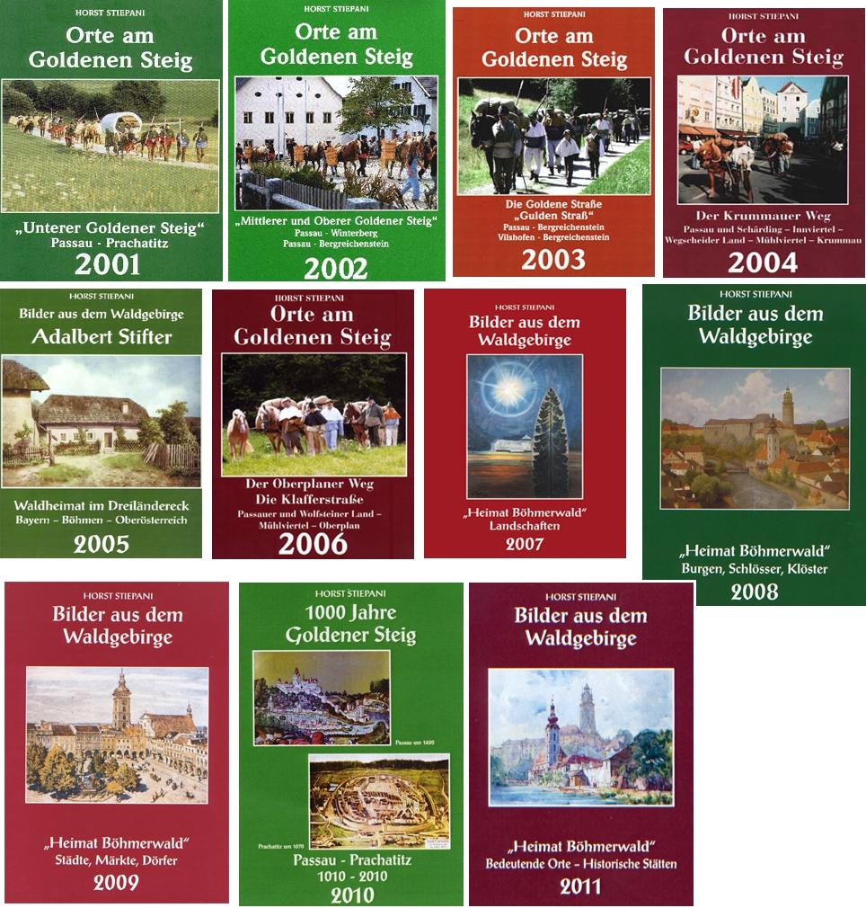 Souvislá řada obálek jeho šumavských kalendářů 2001-2011