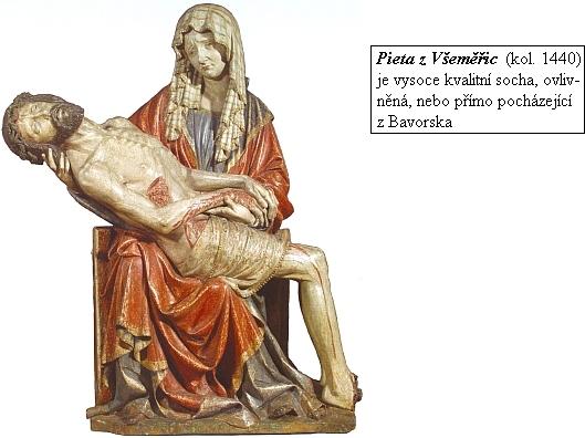 Pieta z Všeměřic byla nalezena roku 1951 v polní kapličce u vsi a je jedním z nejvýznamnějších příkladů umění     krásného slohu ve sbírce středověkého umění Alšovy jihočeské galerie v Hluboké nad Vltavou
