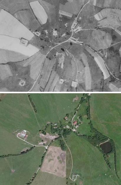 Všeměřice na leteckých snímcích z roku 1952 a 2008