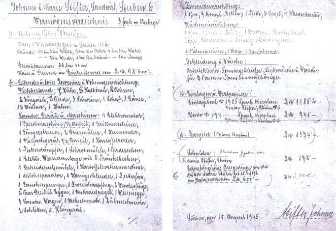 Takto pečlivě sepsal otec Johann Stifter na český příkaz veškerý svůj majetek v srpnu 1945