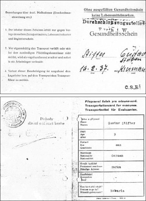 Přepravní lístek Gustava Stiftera při odsunu
