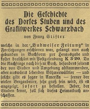 Inzerát (1920) z Budweiser Zeitung na knižní vydání práce Franze Stiftera o Hůrce a tuhových dolech při Černé v Pošumaví, která předtím vycházela v témže listě na pokračování