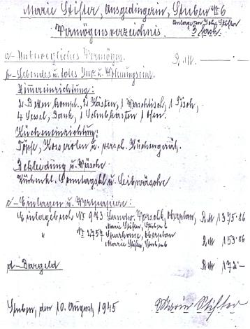 Seznam majetku jeho babičky Marie - za falešné údaje byl pisatel okamžitě zatčen