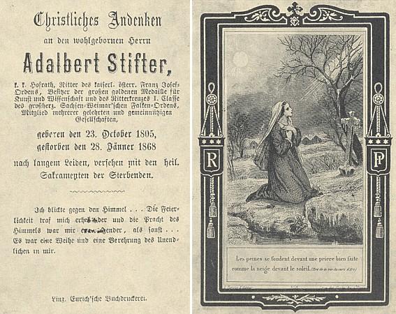 Rub a líc úmrtního obrázku Stifterova s citátem ze života francouzského světce Vianneye
