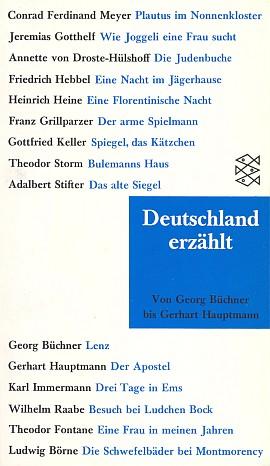 Obálka (1992) sbírky povídek německy píšících autorů, v níž je Stifter též zastoupen (Fischer Taschenbuch Verlag, Frankfurt nad Mohanem)