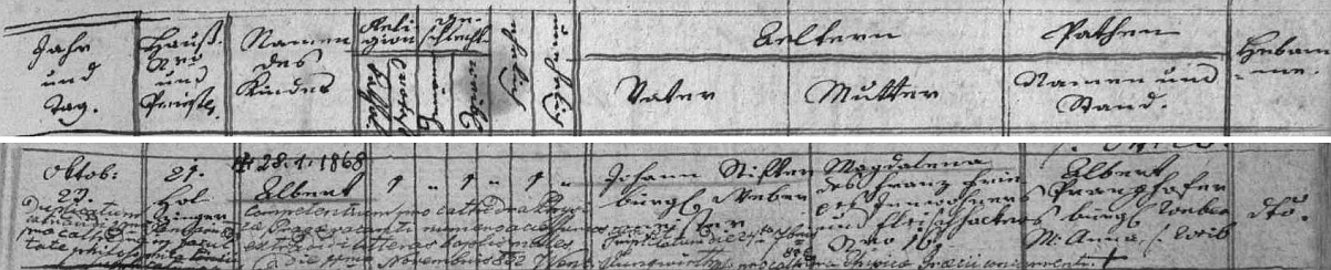 Záznam o jeho narození 23. října 1805 v hornoplánské matrice (je tu psán Albert), kromě jmen rodičů Johanna aMagdaleny, roz. Friepessové, vidíme i přípis s datem jeho úmrtí 28. ledna 1868