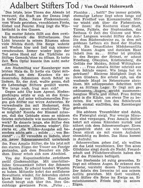 Takto psal o smrti Adalberta Stiftera na stránkách Sudetendeutsche Zeitung v březnu 1955 Oswald Fritz-Hohenwarth