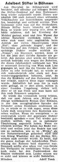 """Teprve roku 1955, jak referuje koncem tohoto roku ústřední list vyhnaných krajanů, byl jeho pomník v Horní Plané vrácen """"zřejmě na vyšší rozkaz"""" na své původní místo"""