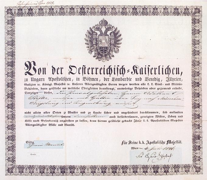 Cestovní pas spisovatelův z roku 1864 z fondu Národní knihovny v Praze, archiv Adalberta Stiftera