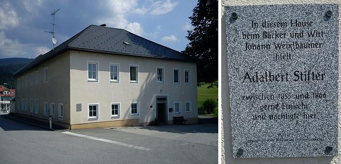 Bývalý hostinec ve Schwarzenbergu, kde Stifter pobýval a jehož majitel je zmíněn i v próze Zima v lese