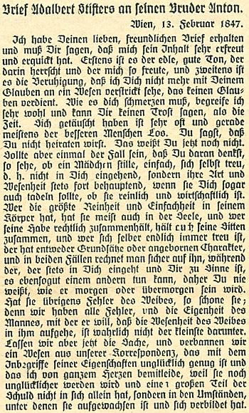 Dopis bratru Antonovi z Vídně, psaný v únoru roku 1847, svědčí o síle Stifterova jazykového umění a o jeho citové hloubce