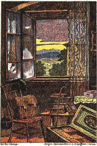 Před odjezdem - ilustrace Emericha Schaffrana kpovídce Starý mládenec (1924)