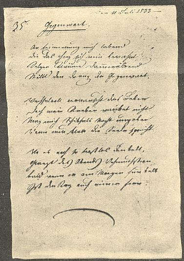 Rukopis básně Přítomnost