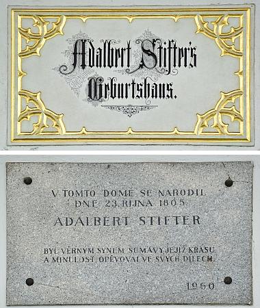 Detaily pamětních desek na domě čp. 21 v Horní Plané