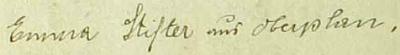 Její podpis ve frymburské obecní kronice