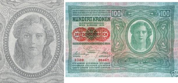 """Na rakousko-uherské bankovce z roku 1912, opatřené později přetiskem""""Deutschösterreich"""""""