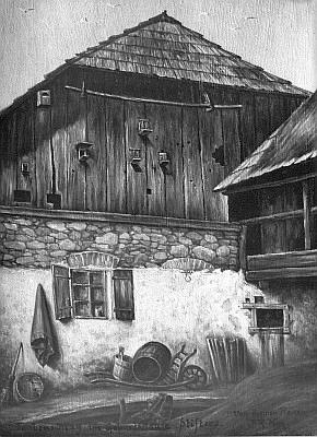 ... holubník ve dvoře Stifterova rodného domu na malbě jeho životopisce Aloise Raimunda Heina