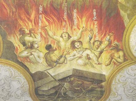 """Zobrazení ubohých duší v očistci s latinskými citacemi modlitby Zdrávas Královno: """"v tomto slzavém údolí - k tobě voláme - k tobě vzdycháme  -  lkajíce a plačíce"""" v někdejším farním kostele sv. Prokopa a Oldřicha ve Starém Sedlišti na fresce, jejímž autorem je Wenzeslaus Samuel Theodor Schmidt (1694-1756) z Plané (Plan)"""