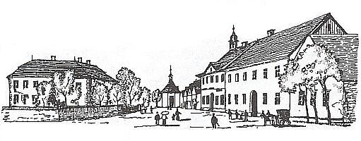 Staré Sedliště, náměstí se zámkem, osmibokou kaplí, zbořenou roku 1959, vpravo pak radnicí městečka a zámek sám, jak kdysi vyhlížel