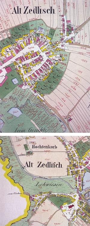 ... a dva výřezy císařských otisků mapy stabilního katastru z prvé poloviny století devatenáctého