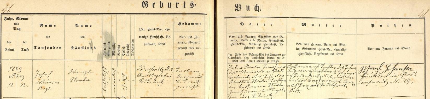Záznam horšovotýnské křestní matriky o jeho narození v Podražnici čp. 4