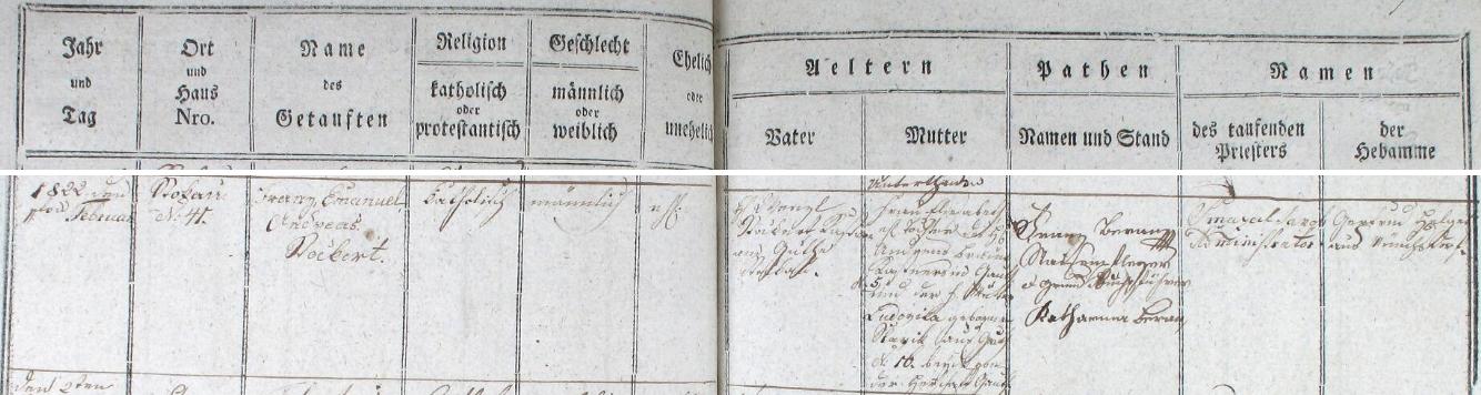 Záznam o jeho narození v pivoňské matrice