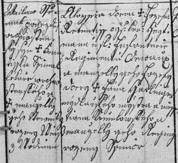 """Data rodičů jeho ženy, patřících spolu s ní mezi předky Egona Schieleho (dosvědčuje to rodokmen v """"jeho"""" českokrumlovském centru), vbechyňské matrice při česky psaném záznamu o narození její sestry Aloisie Veroniky v roce 1825"""
