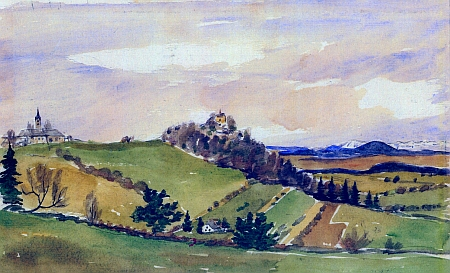Malšín, mariánský kostelík na Turmberku a výhled na Alpy na akvarelu Zdeňka Jiráně