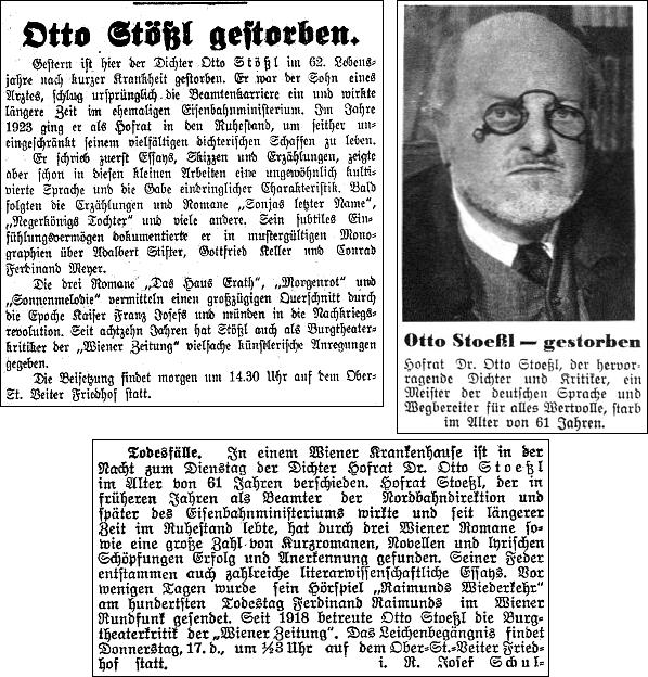 Zprávy o jeho úmrtí ve vídeňském tisku