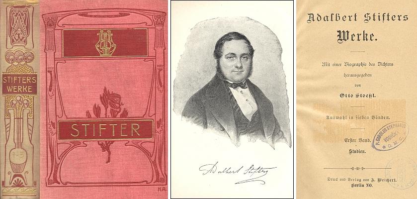 Vazba, frontispis a titulní list výboru ze Stifterova díla, který pořídil
