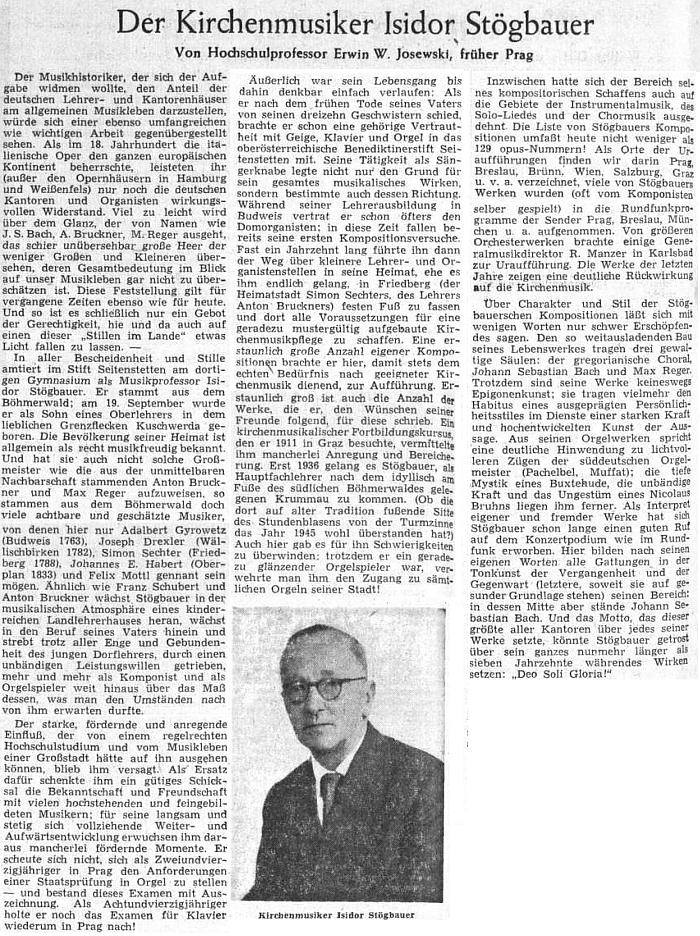 V roce 1954 přinesl Sudetendeutsche Zeitung obsáhlý článek o jeho životě a díle
