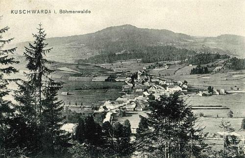 Někdejší Kunžvart na pohlednici Josefa Seidela