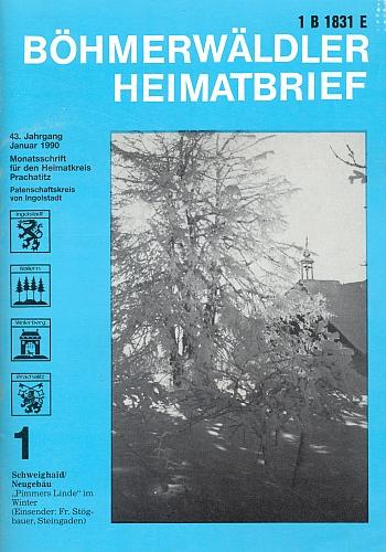 """Obálka krajanského měsíčníku s jeho snímkem """"Pimmerovy lípy"""" v zimních Švajglových Ladech"""