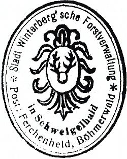 Razítko lesní správy města Vimperka ve Švajglových Ladech, dnešní pošta Borová Lada