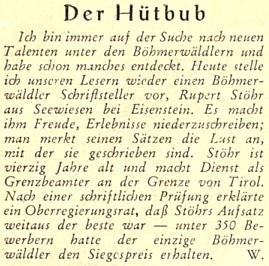 Radostné sdělení Adolfa Webingera o objevu nového literárního talentu předchází otištění Stöhrova textu v krajanském časopise