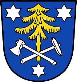 Znak bádensko-württenberského města Calw, kde zemřel a je pochován