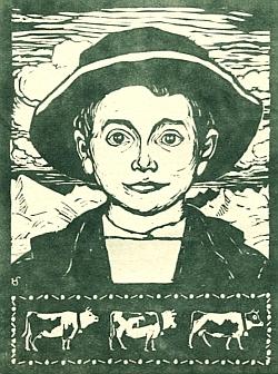 """""""Pasáček"""" (""""Hirtenbub"""") je název dřevorytu německého malíře a grafika Hanse Schroedtera (1872-1957)"""
