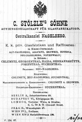 Inzerát skláren C. Stölzle's Söhne
