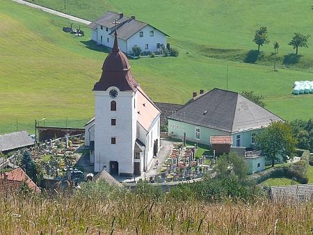Kostel sv. Václava v Harmanschlagu se hřbitovem, kde byla pohřbena jeho žena Elisabeth