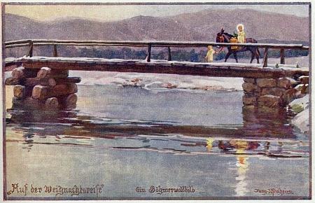 Jezulátko jede na oslíkovi přes šumavský most na pohlednici F. X. Junga-Ilsenheima (1883-1963)