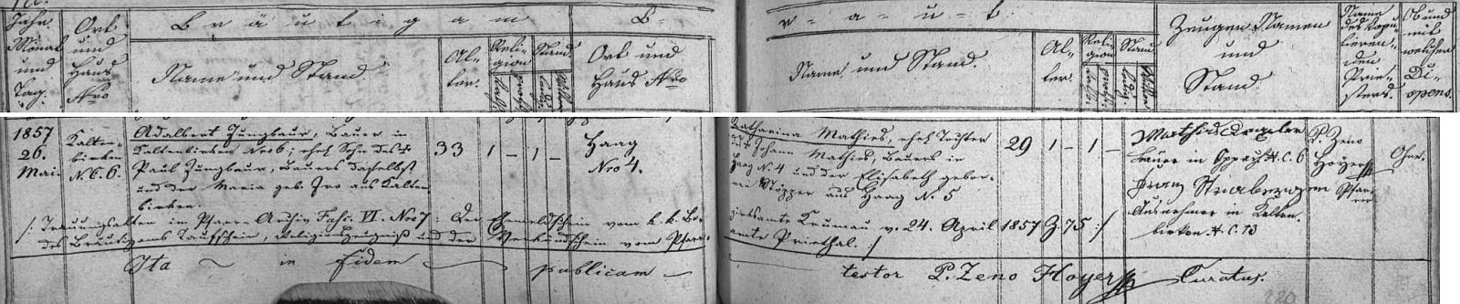 Záznam o svatbě Adalberta Jungbauera a Kathariny, roz. Mathiesové, jejíž matka Elisabeth, roz. Stöpperová, pocházela ze stavení čp. 5 v Haagu, na stránkách oddací matriky farní obce Rožmitál na Šumavě