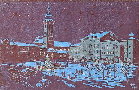 Vánoční Freistadt na linorytu Herberta Wagnera (1987)