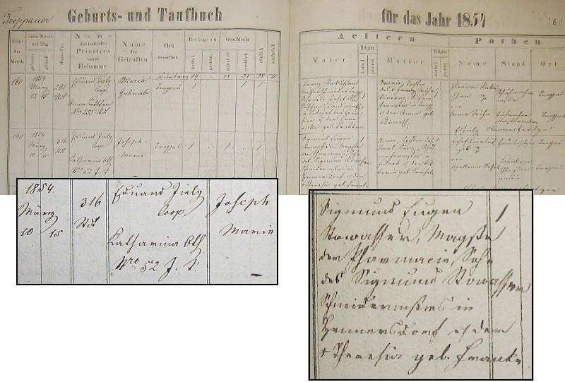 Záznam o jeho narození z matriky v rodné Opavě