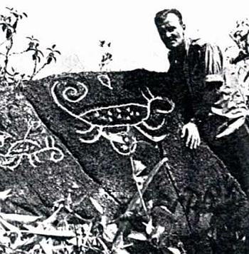 U petroglyfů při jezeře Valencia ve Venezuele, které zkoumal